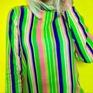 Vintage 60s mod rainbow striped tunic blouse S/M